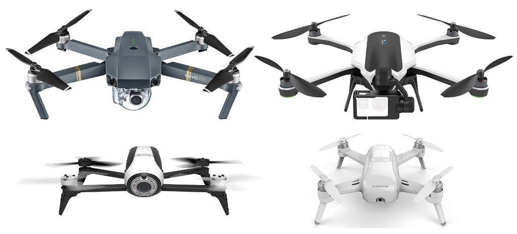 DJI Mavic Pro Vs GoPro Karma Yuneec Breeze Parrot Bebop 2 Specs Comparison